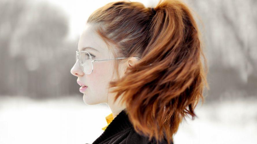 redhead profile sunglasses background wallpaper