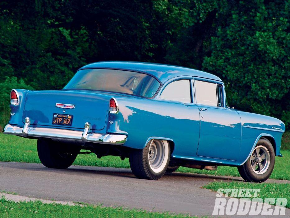 1955 Chevrolet 210 Drag Pro Street Hotrod Hot Rod Streerod Blue USA 1600x1200-02 wallpaper