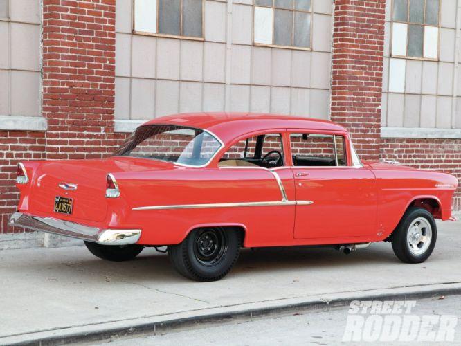 1955 Chevrolet 210 Sedan Two Door Gasser Drag Dragster Street Hot USA 1600x1200-03 wallpaper