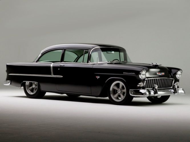 1955 Chevrolet 210 Sedan Two Door Hotrod Streetrod Hot Rod Street Black USA 1600x1200-11 wallpaper