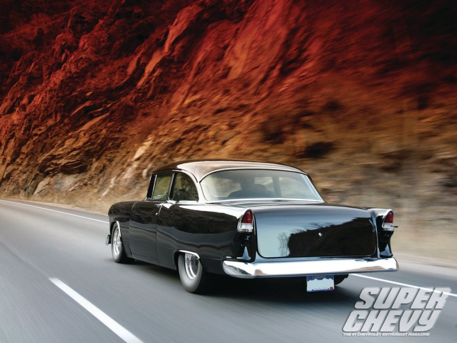 1955 Chevrolet 210 Sedan Two Door Hotrod Streetrod Hot Rod Street Black USA 1600x1200-01 wallpaper