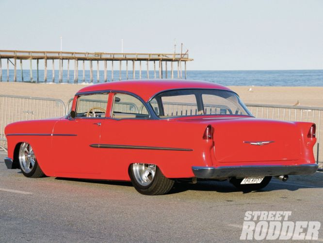 1955 Chevrolet 210 Sedan Two Door Hotrod Streetrod Hot Rod Street USA 1600x1200-12 wallpaper