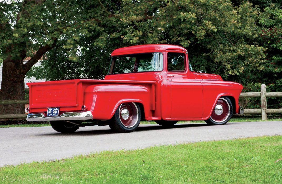 1955 Chevrolet 3100 Pickup Stepside Hotrod Hot Rod Custom Old School Red USA 3888x2544-02 wallpaper