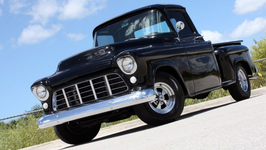 1955 Chevrolet 3100 Stepside Hotrod Streetrod Hot Rod Street Black USA 2240x1260-01 wallpaper