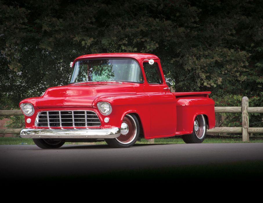 1955 Chevrolet 3100 Pickup Stepside Hotrod Hot Rod Custom Old School Red USA 3888x3000-01 wallpaper