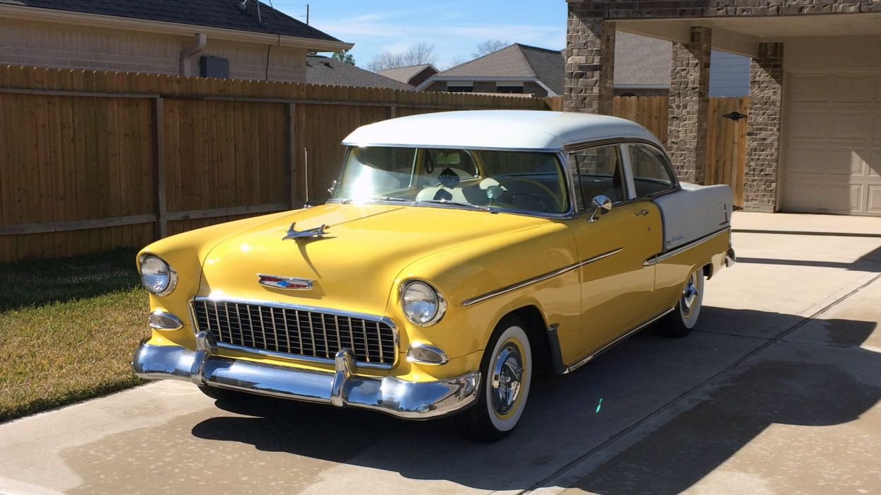 1955 Chevrolet Bel Air Classic Old Vintage Retro Yellow USA 2100x1180 wallpaper