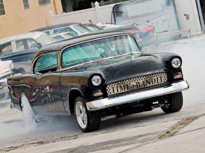 1955 Chevrolet Bel Air Hardtop Gasser Drag Dragster Street Hot Burnout USA 1600x1200-06 wallpaper