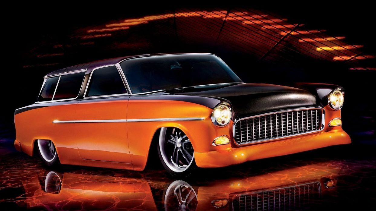1955 Chevrolet Bel Air Nomad Hotrod Streetrod Hot Rot Street Wagon USA 1920x1080-01 wallpaper