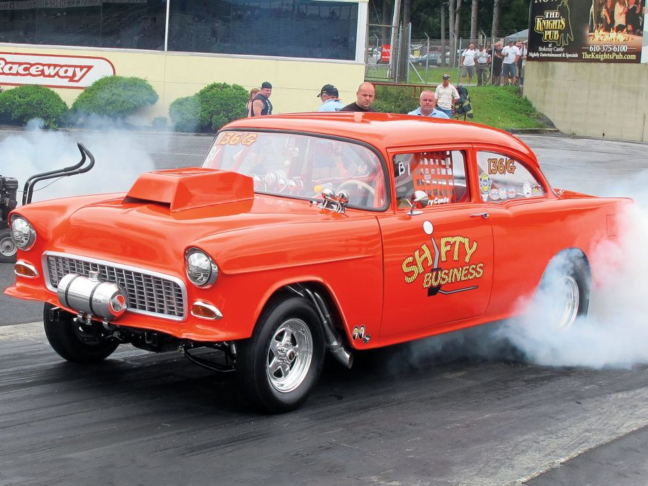 1955 Chevrolet Bel Air Sedan Two Door Gasser Drag Dragster Race Racing Burnout USA 1600x1200-03 wallpaper