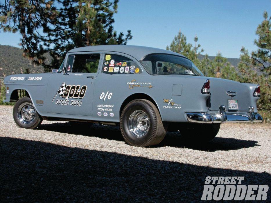 1955 Chevrolet Bel Air Sedan Two Door Gasser Drag Dragster Race Racing USA 1600x1200-08 wallpaper