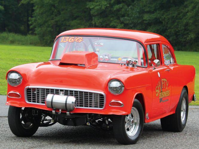 1955 Chevrolet Bel Air Sedan Two Door Gasser Drag Dragster Race Racing USA 1600x1200-02 wallpaper