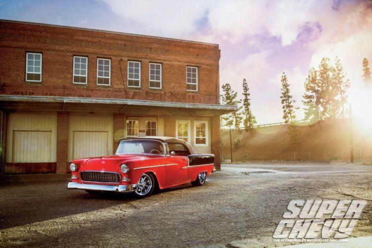 1955 Chevrolet BelAir Convertible Hotrod Streetrod Hot Rod Street Black USA 1500x1000-03 wallpaper
