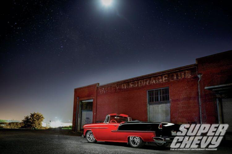 1955 Chevrolet BelAir Convertible Hotrod Streetrod Hot Rod Street Black USA 1500x1000-05 wallpaper