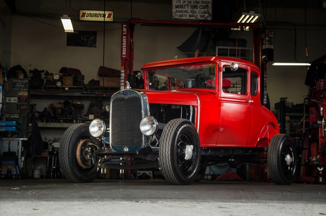 1930 Ford Model A Coupe Five Window Hotrod Hot Rod Classic Vinyage Old School USA -01 wallpaper