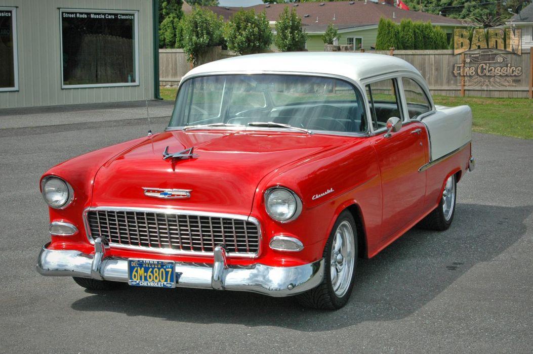 1955 Chevrolet BelAir Coupe Two Door Hotrod Streetrod Hot Rod Street Red USA 1500x1000-04 wallpaper