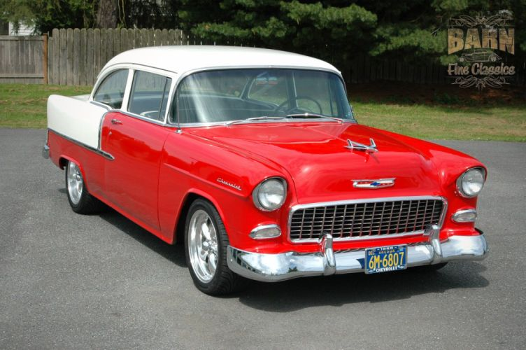 1955 Chevrolet BelAir Coupe Two Door Hotrod Streetrod Hot Rod Street Red USA 1500x1000-02 wallpaper