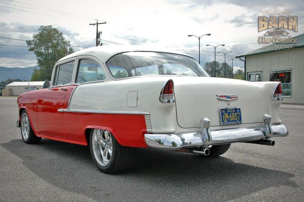 1955 Chevrolet BelAir Coupe Two Door Hotrod Streetrod Hot Rod Street Red USA 1500x1000-05 wallpaper