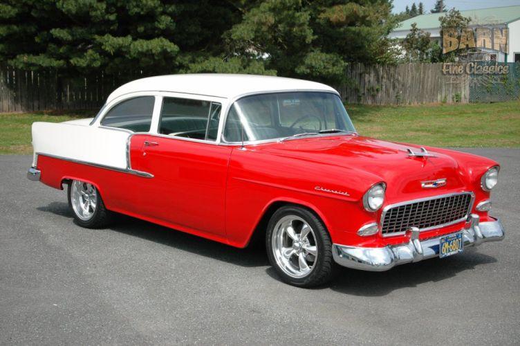 1955 Chevrolet BelAir Coupe Two Door Hotrod Streetrod Hot Rod Street Red USA 1500x1000-01 wallpaper