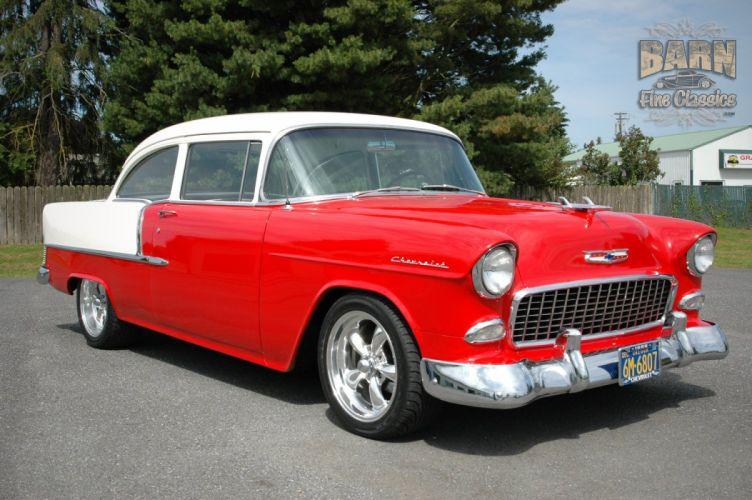 1955 Chevrolet BelAir Coupe Two Door Hotrod Streetrod Hot Rod Street Red USA 1500x1000-08 wallpaper