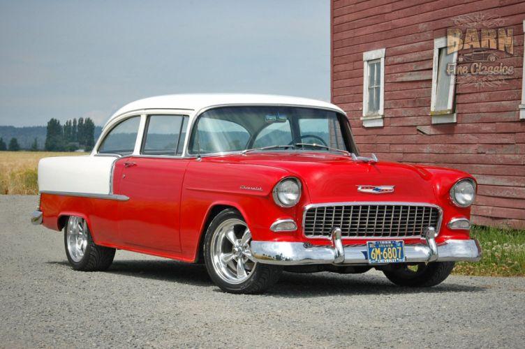 1955 Chevrolet BelAir Coupe Two Door Hotrod Streetrod Hot Rod Street Red USA 1500x1000-12 wallpaper