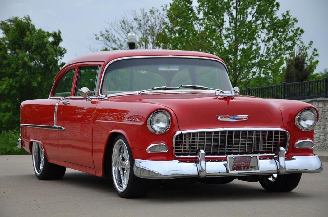 1955 Chevrolet Chevy Bel Air Belair 210 Cruiser Resto Mod Streetrod Street Rod Hot USA -06 wallpaper