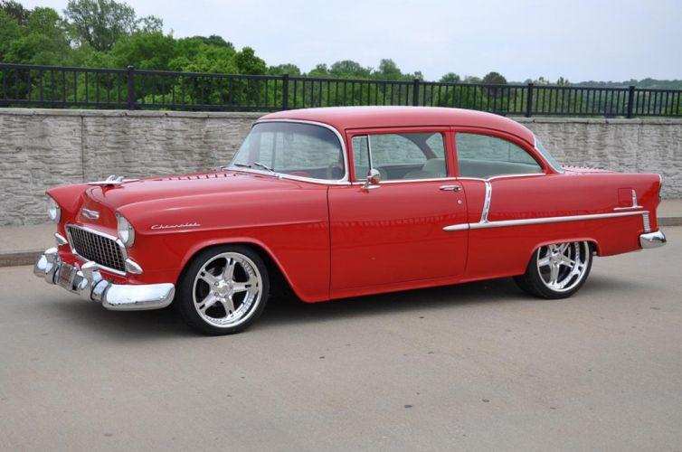 1955 Chevrolet Chevy Bel Air Belair 210 Cruiser Resto Mod Streetrod Street Rod Hot USA -16 wallpaper
