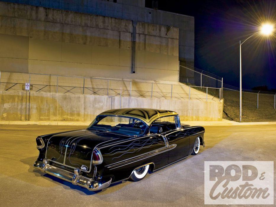 1955 Chevrolet Chevy Bel Air Hotrod Hot Rod Custom Kustom Old Scholl USA-1600x1200-02 wallpaper