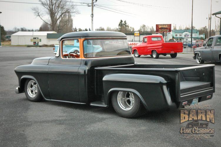 1955 Chevrolet Pickop Pro Street Pickup Streetrod Rod Black USA 1500x1000-05 wallpaper