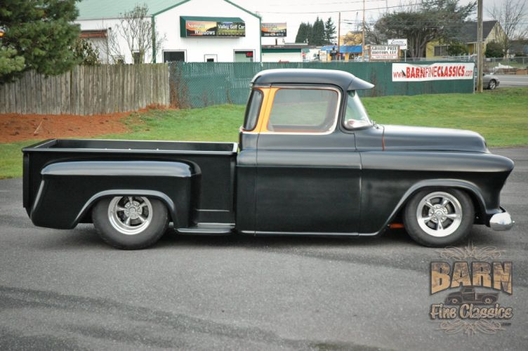 1955 Chevrolet Pickop Pro Street Pickup Streetrod Rod Black USA 1500x1000-08 wallpaper