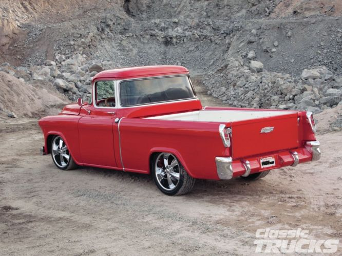 1955 Chevrolet Pickup Cameo pickup Hotrod Streetrod Hot Rod Street Red USA 1600x1200-02 wallpaper