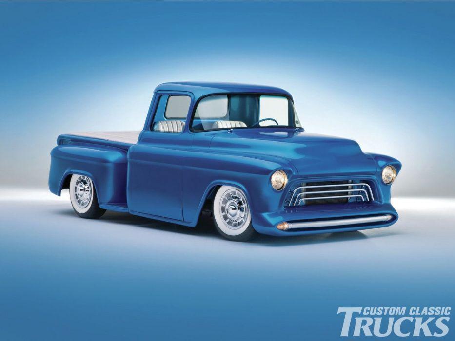 1955 Chevrolet Pickup Stepside Hotrod Hot Rod Custom Kustom Old School Blue USA 1600x1200-01 wallpaper