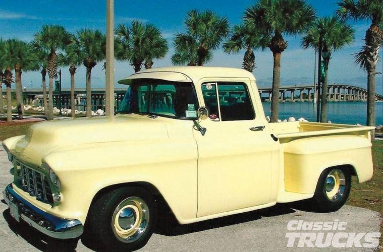 1955 Chevrolet Pickup Stepside Hotrod Hot Rod Custom Old School USA 1600x1200-01 wallpaper