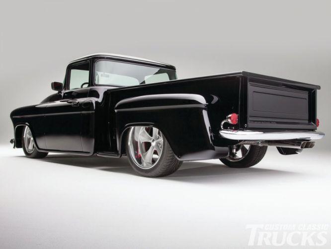 1955 Chevrolet Pickup Stepside pickup Hotrod Streetrod Hot Rod Street Black Chopped Low USA 1600x1200-02 wallpaper
