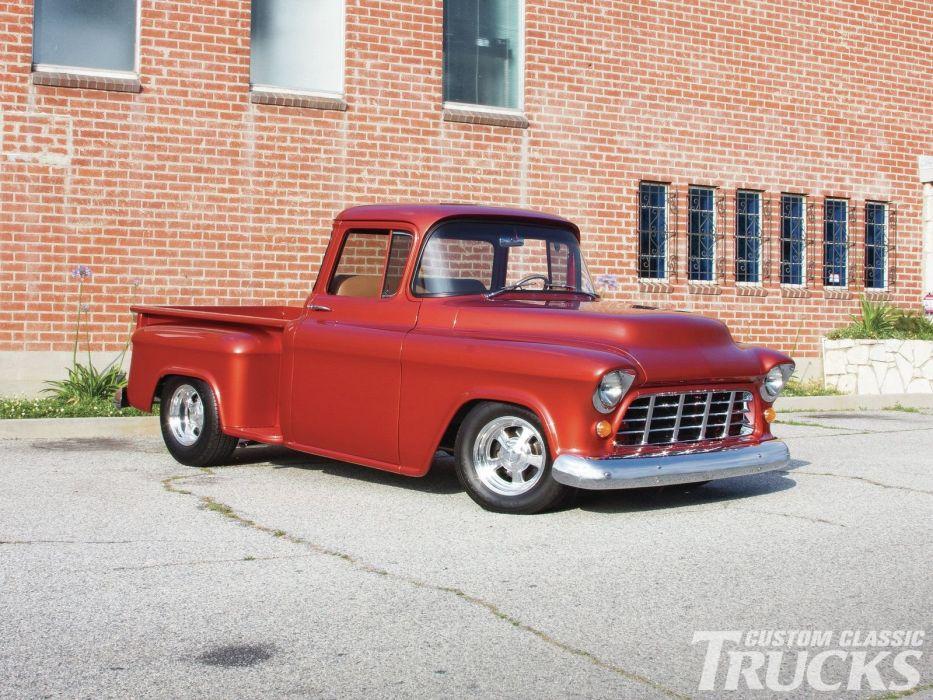 1955 Chevrolet Pickup Stepside pickup Hotrod Streetrod Hot Rod Street Red USA 1600x1200-01 wallpaper