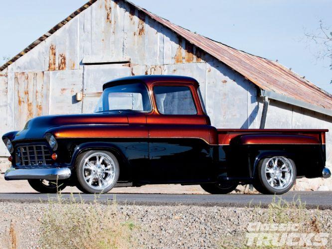 1955 Chevrolet Pickup Stepside pickup Hotrod Streetrod Hot Rod Street USA 1600x1200-01 wallpaper
