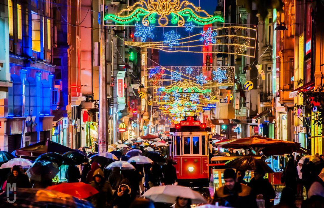 people night istanbul tram rain lights life Umbrella taksem TUrkey Crowdedness wallpaper