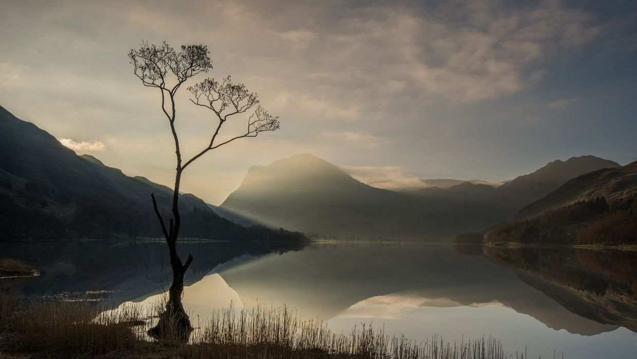 sunrays Nature Trees Sunrise Lake Tree Clouds Hill Plants Reflection Lake District Weather Buttermere Haystack Lone Solarity wallpaper