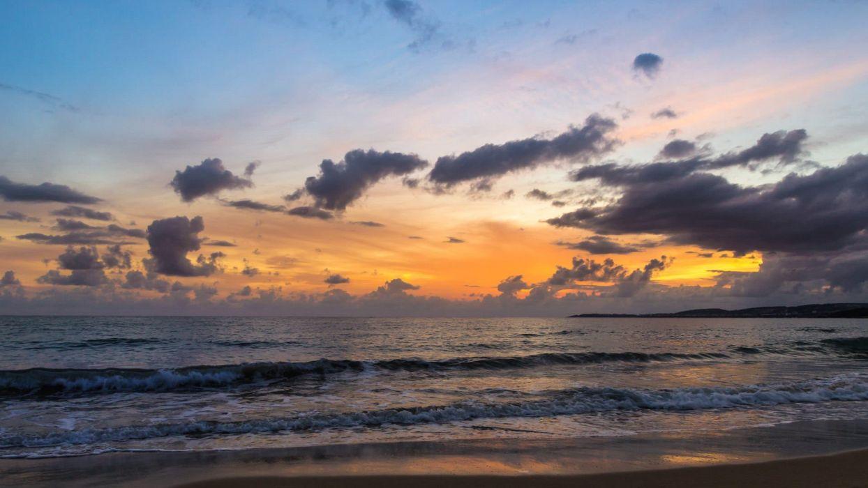 original photo sea sunset beach sundown golden hour Sonnenuntergang Antalya Alanya Strand TA wallpaper