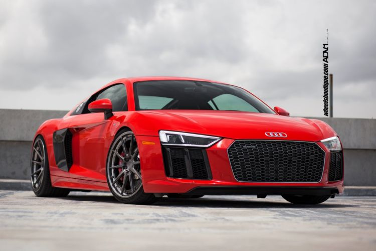 Audi R8 V10 cars red adv1 wheels wallpaper