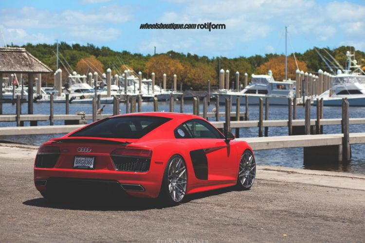 Audi R8 V10 cars red adv1 wheels wallpaper