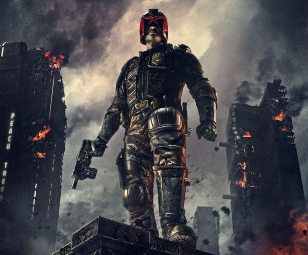 DREDD sci-fi action superhero warrior fantasy sci-fi comics judge fighting crime wallpaper