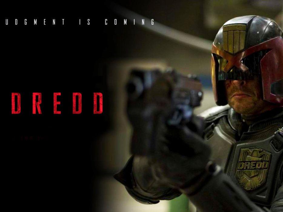 DREDD sci-fi action superhero warrior fantasy sci-fi comics judge fighting crime poster wallpaper