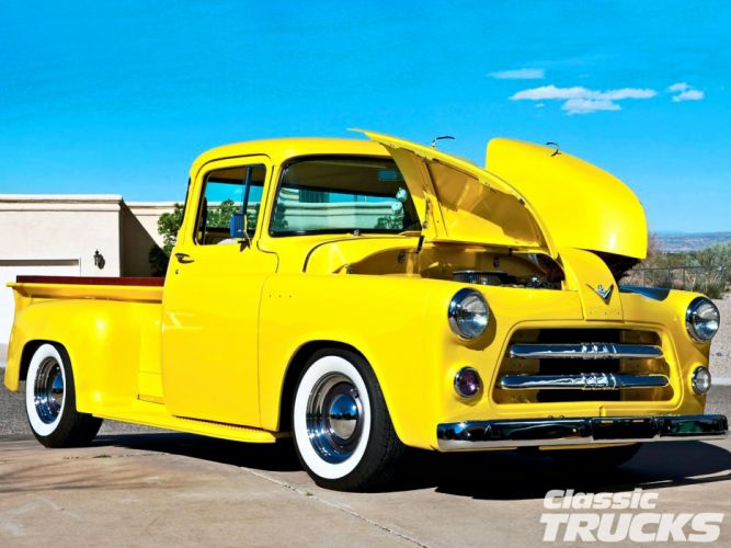 1955 Dodge C3-B Pickup Hotrod Streetrod Hot Rod Street Custom Old School Yellow USA 1600x1200-01 wallpaper