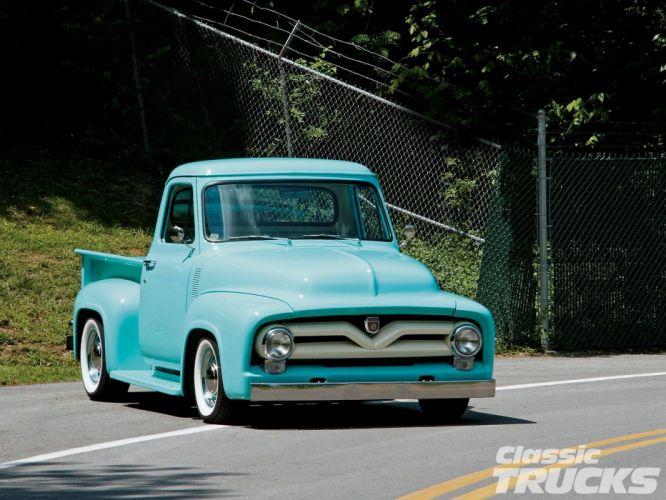 1955 Ford F-100 Pickup Hotrod Hot Rod Custom Old School Blue USA 1600x1200-01 wallpaper