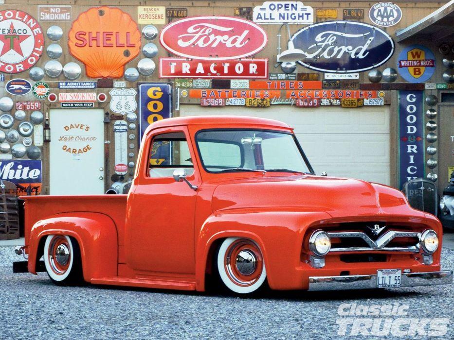 1955 Ford F-100 Pickup Hotrod Hot Rod Custom Old School Retro Red Low USA 1600x1200-01 wallpaper