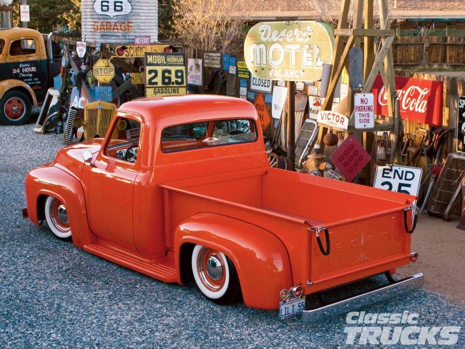 1955 Ford F-100 Pickup Hotrod Hot Rod Custom Old School Retro Red Low USA 1600x1200-02 wallpaper