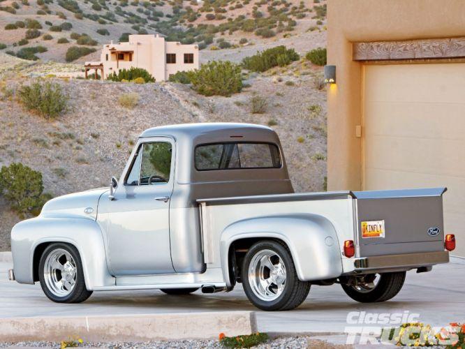 1955 Ford F-100 Pickup Hotrod Streetrod Hor Rod Street Retro Silver USA 1600c1000-05 wallpaper