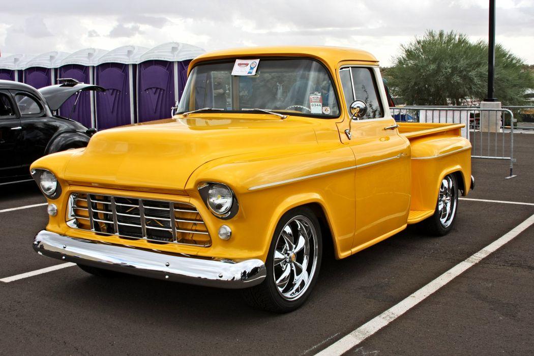 1955 Chevrolet Pickup Stepside pickup Hotrod Streetrod Hot Rod Street Yellow USA -01 wallpaper