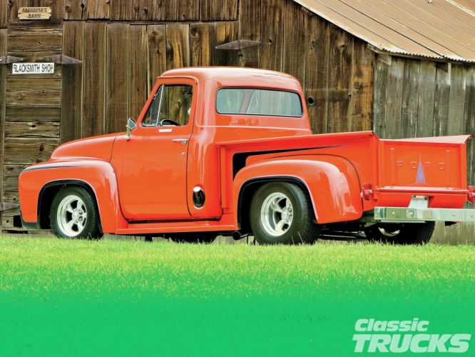 1955 Ford F-100 Pickup Hotrod Streetrod Hot Rod Street Blue USA 1600x1200-04 wallpaper