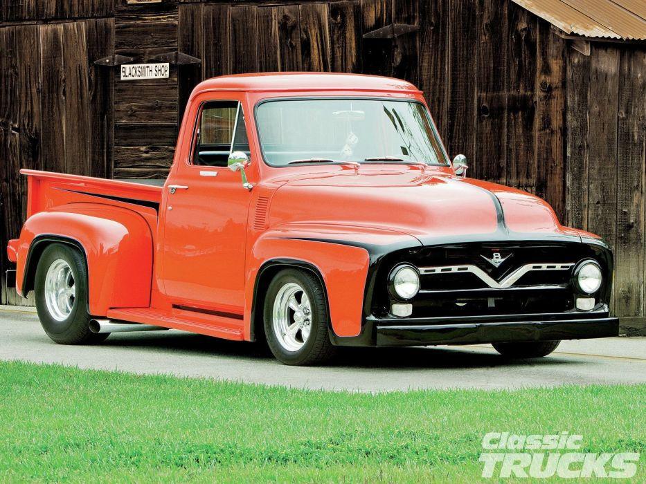 1955 Ford F-100 Pickup Hotrod Streetrod Hot Rod Street Blue USA 1600x1200-03 wallpaper